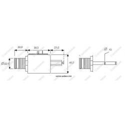 Elektrozawór fi 12,65 mm. nabojowy/nabój 40l. by-pass pod cewkę fi 14mm  - NO