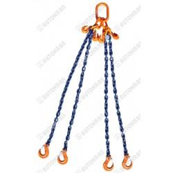 Zawiesie łańcuchowe 4 - cięgnowe MI. 16-10, 21t. - 2,5m, + haki skracające