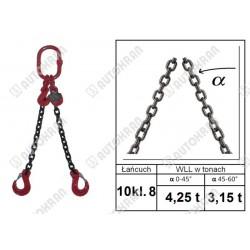 Zawiesie łańcuchowe 1 - cięgnowe MI. 16-8, 8,0t. - 1,0m, + hak skracający