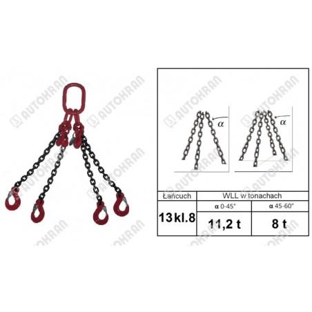Zawiesie łańcuchowe 2 - cięgnowe MI.  8-8, 2,8t. - 6,0m, + haki skracające