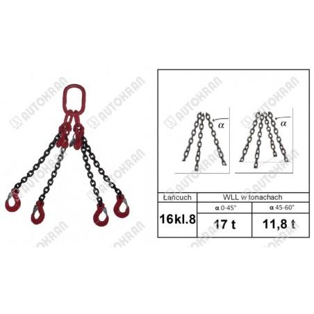Zawiesie łańcuchowe 2 - cięgnowe MI. 16-8, 11,2t. - 4,0m, + haki skracające