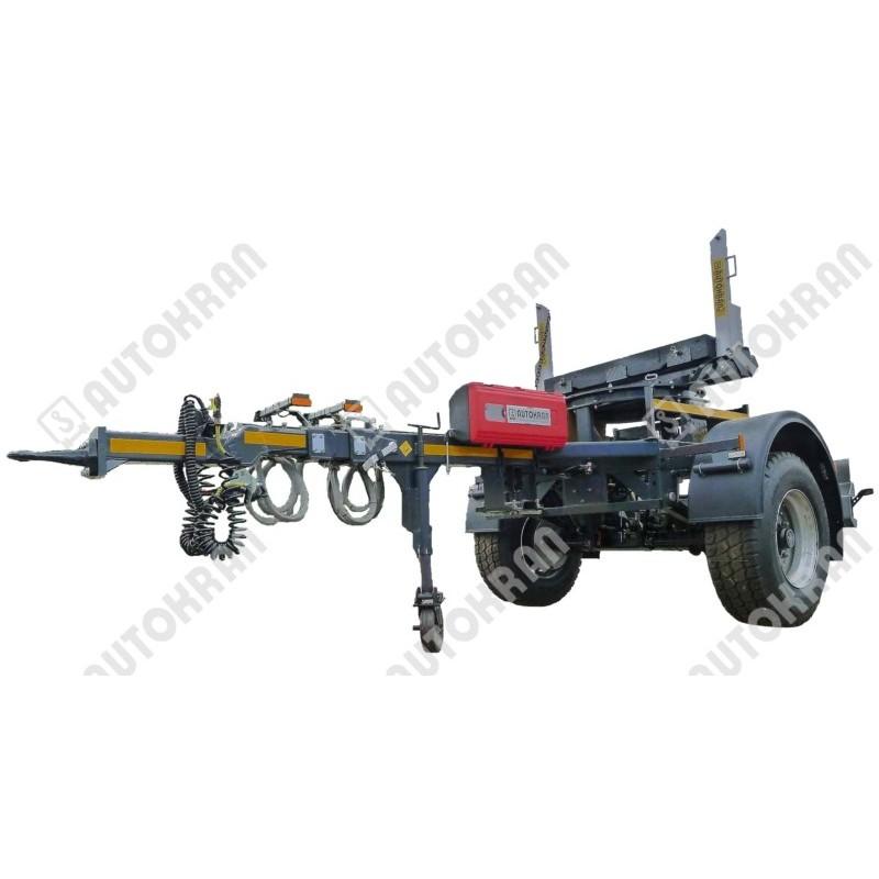 Przyczepa dłużycowa, dłużyca do słupów, rur, drutu, drewna jednoosiowa dla energetyki, wodociągów, składów stali itp.
