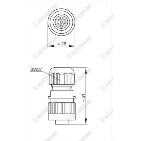 Lampa ostrzegawcza diodowa (kogut wysoki) LED, mocowanie magnes, z przewodem spiralnym, pod gniazdo zapalniczki,
