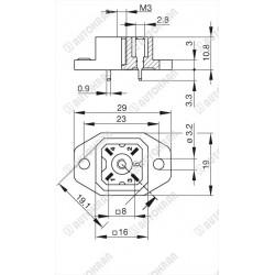 Lampa ostrzegawcza diodowa (kogut) LED 12/24 VDC, mocowanie podstawa 3 śruby + magnes, przewód spiralny z wtyczką