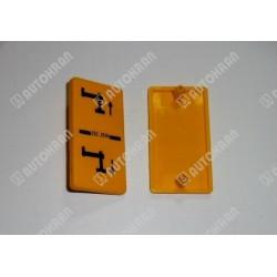 Piktogram (noga podporowa wysuw w dół) żółta tabl. stojąca / pionowa - 3552594