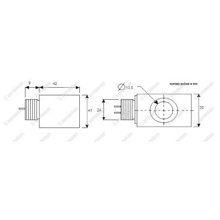 Cewka fi 13/40mm 24DC 14W w metalu, kwadratowa, zamiennik